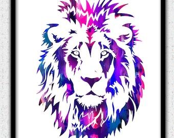 Lion art print, bright colors lion print, purple lion art print, lion watercolor print, lion silhouette, lion painting, lion art poster