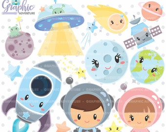 Space Clipart, Outer Space Clipart, Spaceship Clipart, Astronaut Clipart, COMMERCIAL USE, Alien Clipart, Rocket Ship Clipart