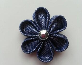fleur tissu imitation jean 4 cm  petales ronds