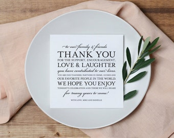 Wedding Thank You Card, Place Setting Thank You Card, Thank You Card Template, Wedding Printable, PDF Instant Download #BPB106_14
