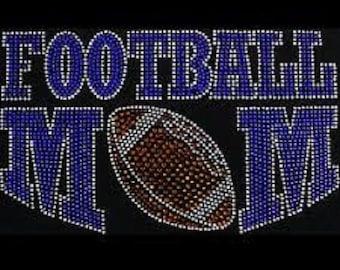 Football mom blue bling rhinestone iron on