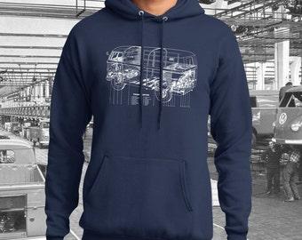 Volkswagen Transporter Blueprint Hoodie.  Full front screen print on a 100% cotton preshrunk Hoodie. Navy hoodie with white print.