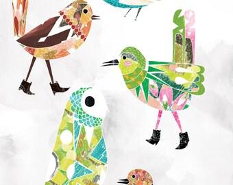 Birds In Boots - Art Print