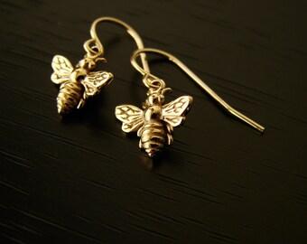 Bee Earrings Bronze Honeybee Earrings Bee Jewelry Silver Gold Bumble Bee Earrings Bronze Bee Honey Bee Earrings Birthday Gifts for Her
