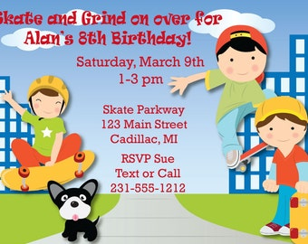 Skateboarding Invitation- Skateboarding Birthday Party Invitation, Kids Party Printables