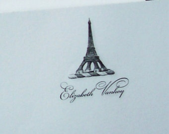 Eiffel Tower Personalized Notepad Paris France French European Traveler Bastille Day Europe Vintage Monogrammed Vacation 75 sheet Note Pad