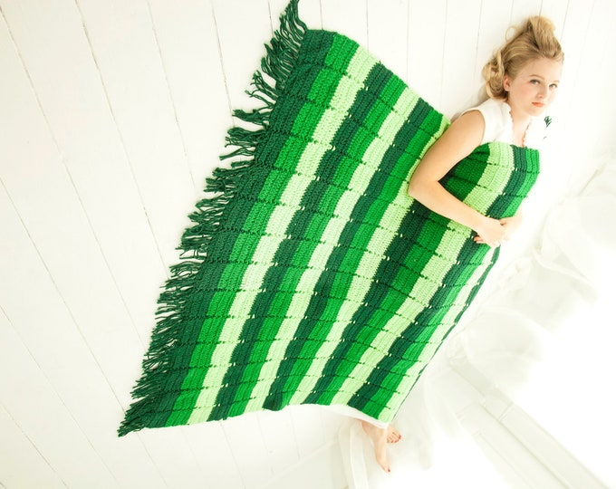 Vintage green striped afghan, fringe, kelly forest throw lap accent blanket, handmade crocheted 1970s boho retro home decor