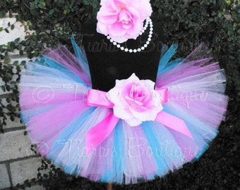 Pinks Turquoise Blue Custom Sewn Tutu - SPECTACULAR BIRTHDAY TUTU - up to 12'' long - sizes newborn to 5T
