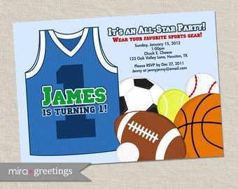 Sports Birthday Party Invitations - Printable Digital File