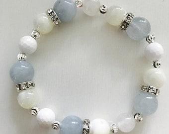 Aquamarine, Mother Of Pearl, Moonstone & White Onyx Natural Crystal Bracelet