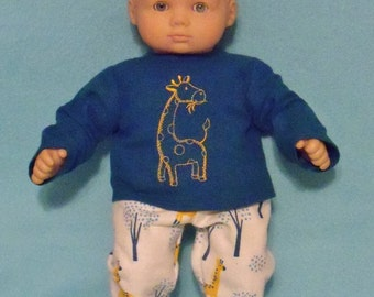 15 inch Doll Flannel Giraffe Pajamas with Feet