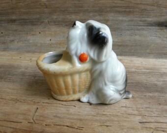 Vintage Dog Toothpick Holder / Match Holder / Made in Japan / Vintage Dog Figurine