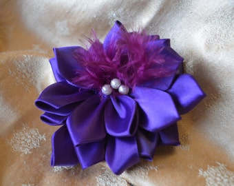 Violet and Pearl Petaled Rose Hair Pin