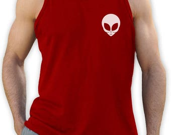 Green Alien Muscle Singlet Black Graphic Funny Ufo - Sleeveless Men's Tank Top Singlet