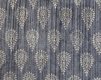 Cotton block print colors taupe and black leaf pattern