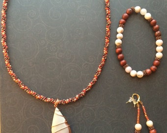 Item #SKP0301:  Kumihimo Necklace Set with Natural Stone Pendant