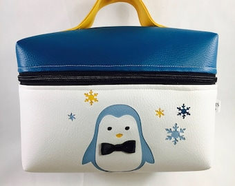 Vanity baby and child Penguin white blue and yellow customizable to order