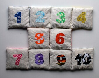 10 Counting Bean Bags - Numbered Rainbow Set - 1-10 - Play Learn - Educational Toy - Montessori - Numbers - Math - Games