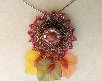 Beadwoven Flower Necklace, Genuine Pearls Goldstone Pendant, Omega Sterling Silver, Goldstone Honey - Floral Jewel by enchantedbeads on Etsy