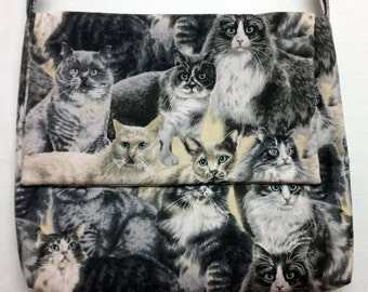 The Right Meow:  Cat Print Messenger Bag