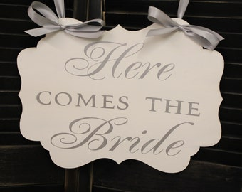 Wedding Sign/Here Comes the BRIDE /scallop Board/Photo Prop/U Choose Colors/Light Weight/Silver