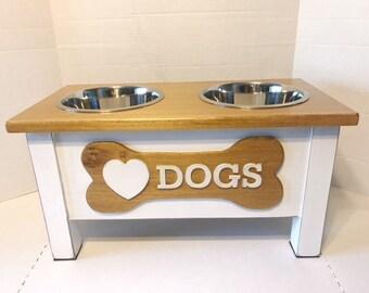 I Heart Dogs, Eat and Bark,Dog Bowl, Personalized Dog Bowl, Raised Dog Feeder, Elevated Dog Feeder, Dog Feeding Station, Dog Mom Gift