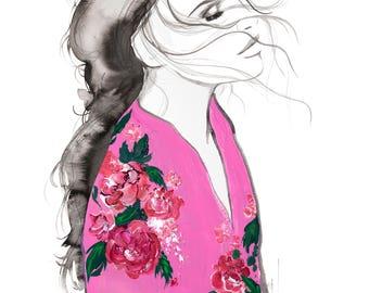 Pink Kimono, print from original mixed media fashion illustration by Jessica Durrant