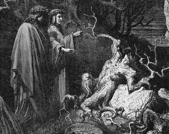 Suicides In The Forest Dante Inferno Canto 13 Gustave Dore Hell Gothic Vintage Engraving To Frame Black & White