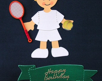 Sizzix die-cut figure of a tennis player with racket and ball