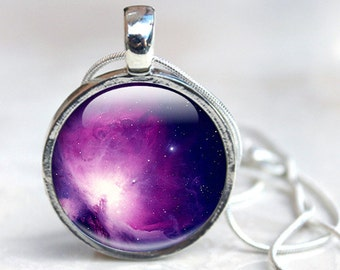 Space Pendant - Purple Galaxy Necklace silver space jewellery - solar system jewelry