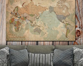 Map of the World on Canvas-Single Panel, NON- Push Pin Vintage Map Art, Canvas World Map, World Map Canvas, Large Wall Art, NON-TRADITIONAL