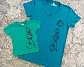 Gift for Mommy and Me, T Shirt Set, Tee Baby Shower Gift, Mommy Tee, Cute Kids Clothes, Mom Graphic Tee, Mother Son Shirt, Hedgehog Tee