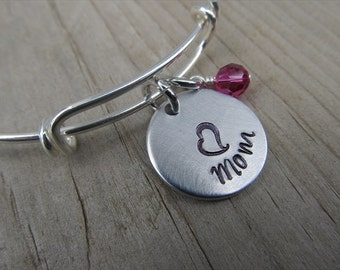 "Mom Bracelet- Gift for Mom- Hand-Stamped Bracelet- ""Mom"", stamped heart, and an accent bead of choice"
