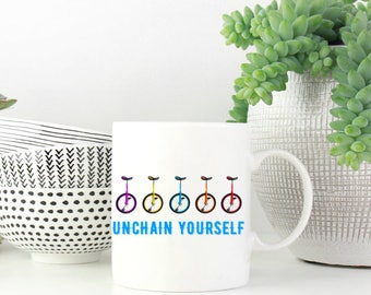 Unicycle Unchain Yourself Funny Ceramic Coffee Mug Tea Cup Cute Gift