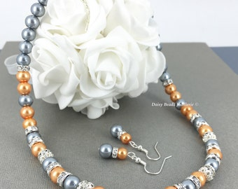 Pearl Necklace Bridesmaid Gift for Mother Grey Necklace Orange Necklace Wedding Jewelry Bridesmaids Jewelry Mother of Bride Mother of Groom