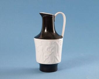 Vintage East German Porcelain Handled Vase by WKCG - Weiss Kühnert & Co Gräfenthal Musician and Dancer White Relief on Black