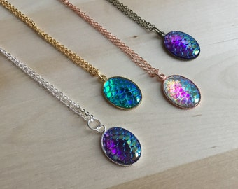 Fairytale Mermaid scale necklace, mermaid scale necklace, iridescent dragon scale jewelry, mermaid necklace, silver dragon scale,