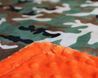 Minky Blanket - Camo Print Minky with Orange Dimple Dot Minky Backing Perfect Size Blanket - perfect gift for a boy and hunting theme rooms