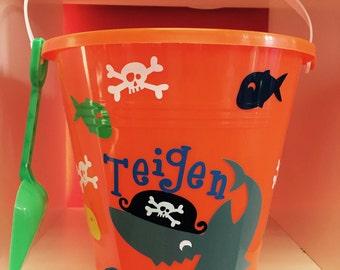 Sand pail-beach pail-personalized sand pail-beach pail with shark-sand pail for boys-beach pail for boys