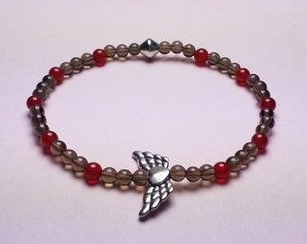 Let Your Heart Rise - bracelet of smokey quartz and carnelian