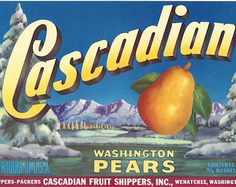 Vintage Cascadian Pears Original Lithograph Crate Label, 1940s
