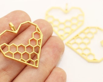 Gold Honeycomb charm, Honeycomb pendant, Necklace Jewelry, gift for her, Jewelry Making, necklace charm, bezel charm, Honeycomb heart, HRPC