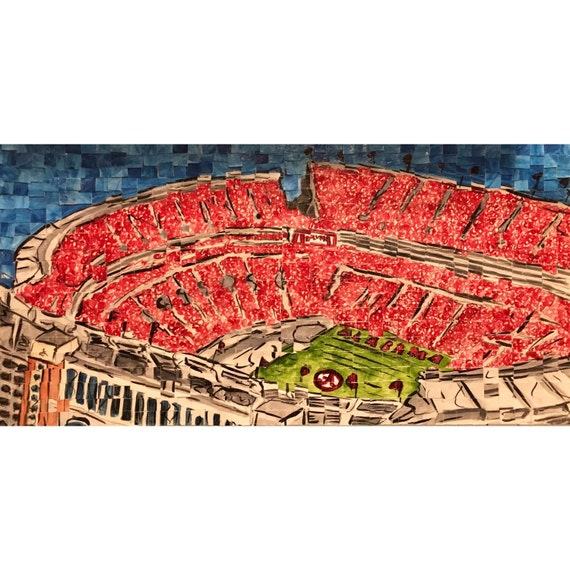 "University of Alabama-Bryant Denny Stadium Architectural Art: 10""x20"" Original Painting"