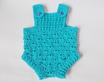 Blue Crochet baby romper,  boy girl rompers, Newborn romper, Baby romper, crochet romper, Knit baby romper, Baby Shower Gifts