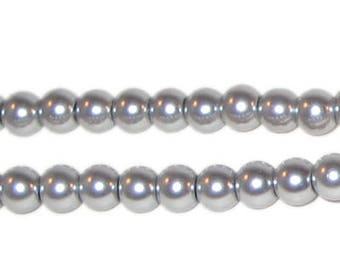 6mm Round Silver Glass Pearl Bead