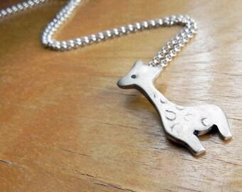 Cute giraffe necklace in sterling silver