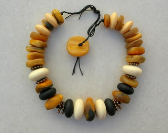Bold Statement Necklace, Cultural Mix, Murano Venetian Glass, Moroccan Sheep Horn, Copper Spacers, The Silk Road Collection, SandraDssigns
