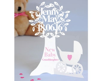 Unique Handmade  Personalised 3D Paper Cut Newborn/Christening Card for a  Baby Girl/Granddaughter/Niece/Goddaughter/Daughter.