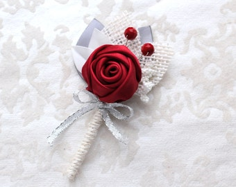 Red Gray Off White Burlap Rosette Boutonniere/ Winter Boutonniere/Christmas Wedding Lapel Pin/ Handmade Wedding Accessory