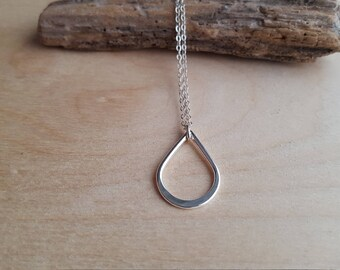 Open Teardrop Necklace - Silver Teardrop Necklace - Lightweight Layering Necklace - Open Petal Necklace - Everyday Silver Jewelry